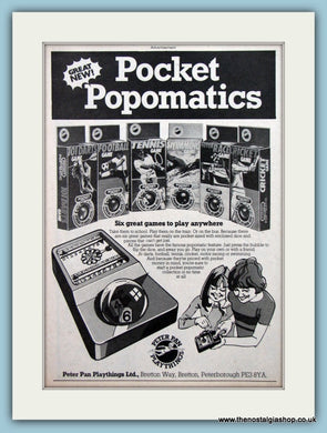 Pocket Popomatics Peter Pan Playthings Original Advert 1979 (ref AD6456)