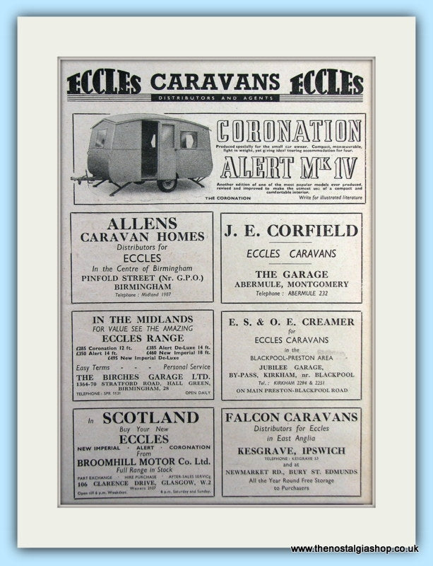 Eccles Caravans Seven Original Adverts 1953 (ref AD6342)