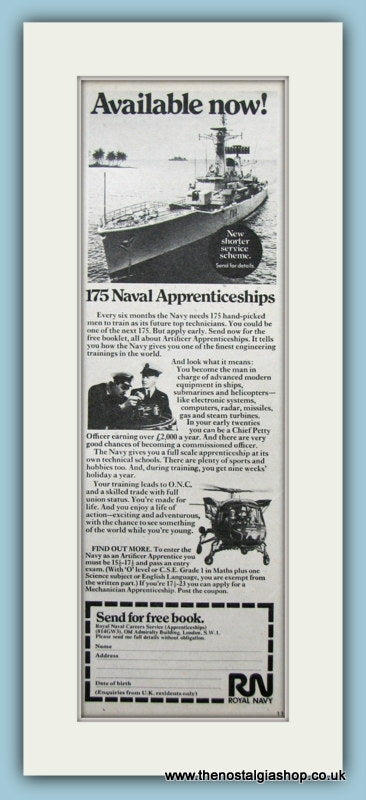 Royal Naval Apprenticeships. Original Advert 1971 (ref AD6057)