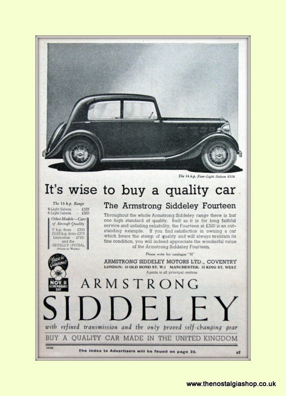 Armstrong Siddeley The 14.h.p Saloon Original Advert 1936 (ref AD6663)