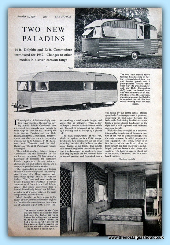 Paladin Dolphin & Commodore Caravan Original Test Report 1956 (ref AD6375)