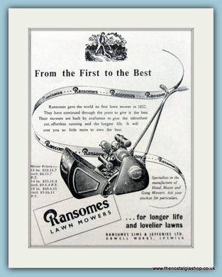 Ransomes Lawnmowers. Set of 3 Original Adverts 1950s (ref AD4622)