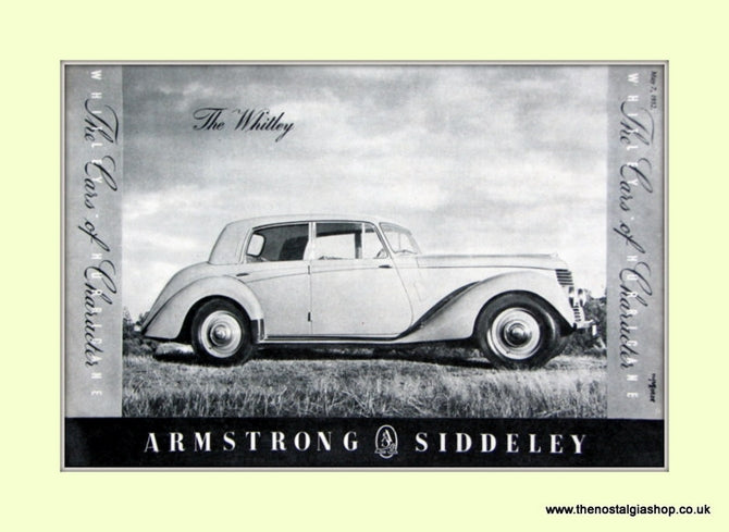 Armstrong Siddeley The Whitley Original Advert 1952 (ref AD6675)