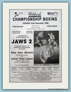 Ross Hale v Andreas Panayi. Original Advert 1994 (ref AD4391)
