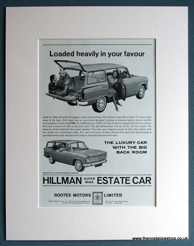 Hillman Super Minx Estate 1964 Original Advert (ref AD1713)