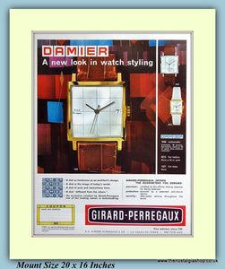 Damier Girard-Perregaux Watch Original Advert 1965 (ref AD9423)