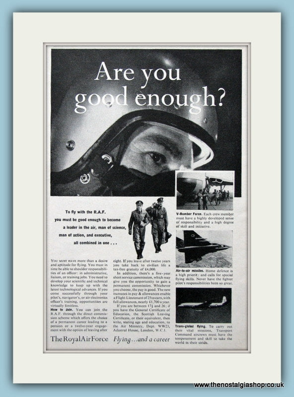 R.A.F Want To Join Original Advert 1958 (ref AD6269)