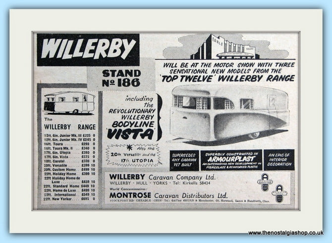 Willerby Range Of Caravans Original Advert 1955 (ref AD6331)