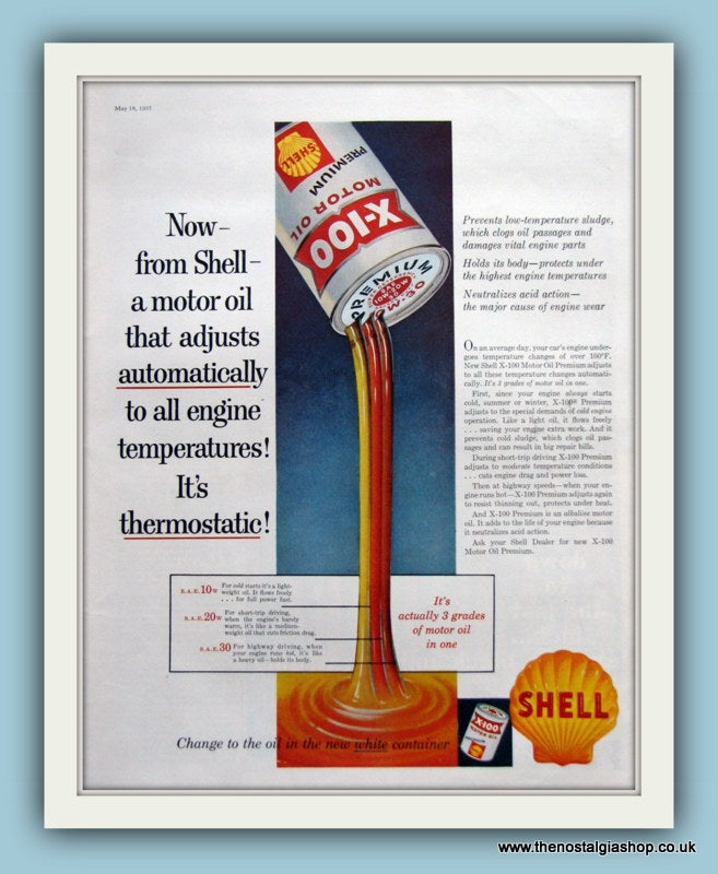 Shell Motor Oil. Original Advert 1957 (ref AD8090)