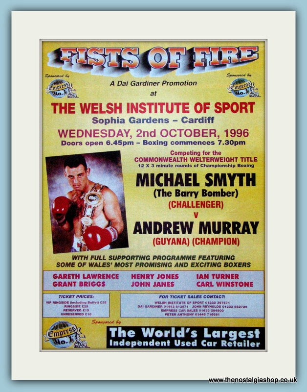 Michael Smyth v Andrew Murray. 1996 Original Advert (ref AD4403)