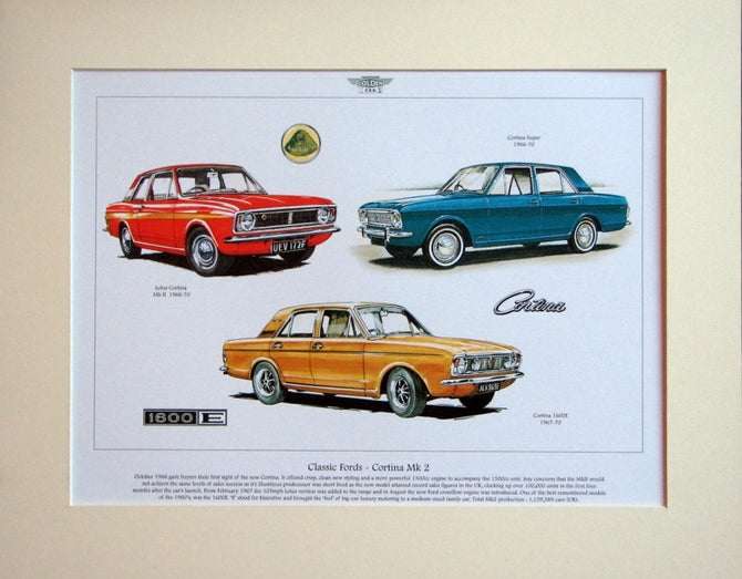 Ford Cortina  Mk 2  Mounted Print