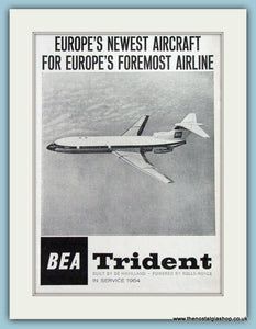 Trident BEA De Havilland Original Advert 1963 (ref AD4279)