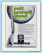 Load image into Gallery viewer, Green M Putters. Set of 3 Original Adverts 1969 (ref AD4990)