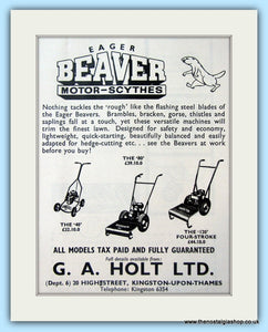 Eager Beaver Motor Scythes. Original Advert 1960 (ref AD4654)