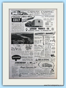 Streamlite Colt Caravans, Joy & king Equipment , Mount Caravans Original Advert 1952 (ref AD6340)