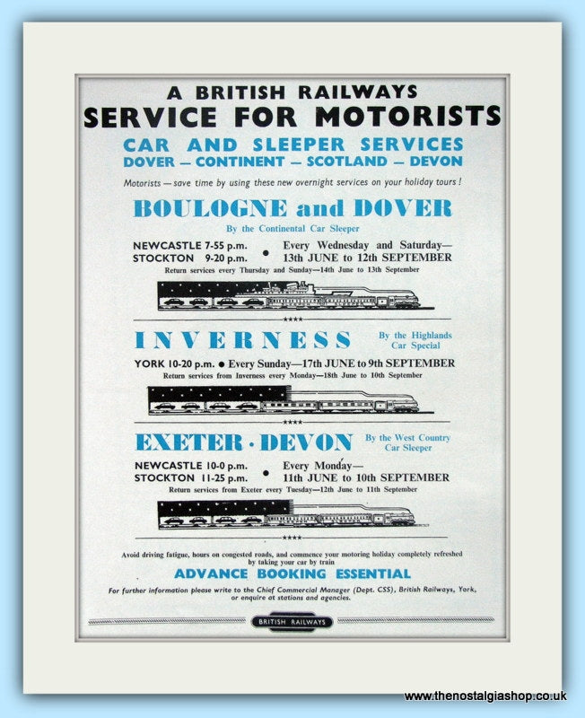 British Railways Service For Motorists Original Advert 1956 (ref AD6539)