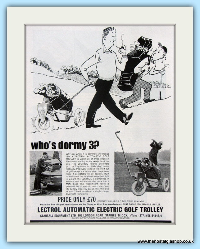Lectrol Electric Golf Trolley. Original Advert 1967 (ref AD4959)