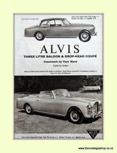 Load image into Gallery viewer, Alvis Three Litre & Coupe.Set of 2 Original Adverts 1960 (ref AD6642)