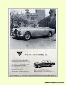 Alvis Series III Set of 2 Original Adverts 1965 (ref AD6650)