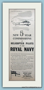 Royal Navy Helicopter Pilots. Original Advert 1959 (ref AD6055)