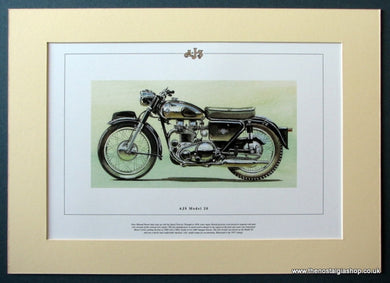AJS Model 20 Mounted Motorcycle Print (ref PR3034)