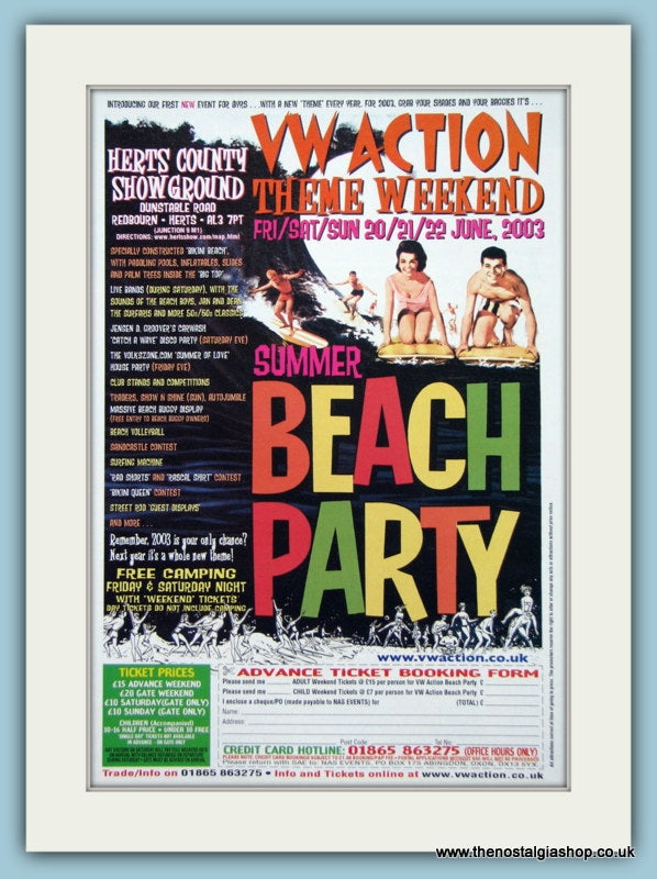 VW Action Summer Beach Party Event 2003. Original Advert (ref AD2044)