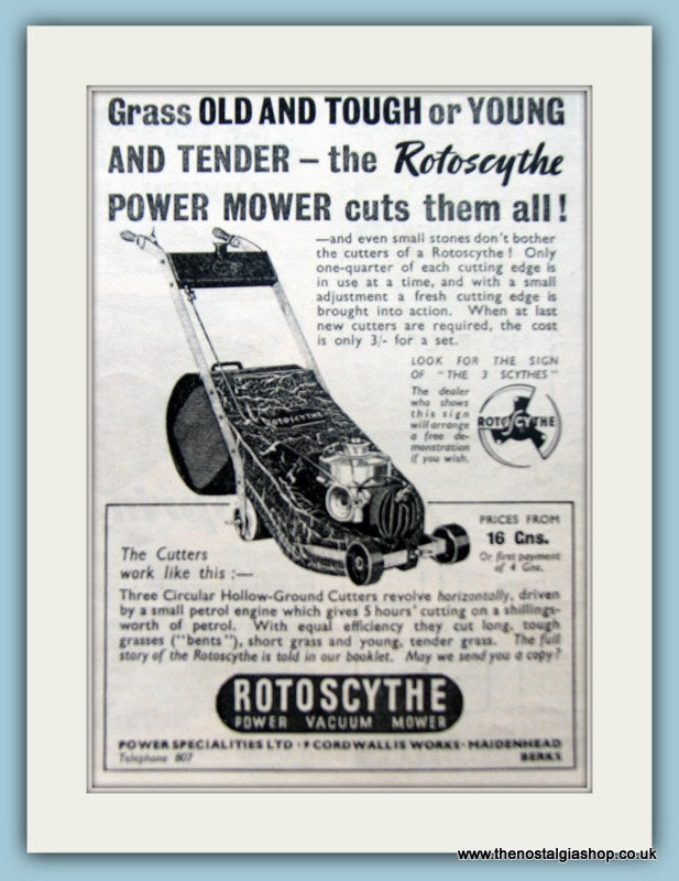 Rotoscythe Power Mower. Original Advert 1938 (ref AD4629)