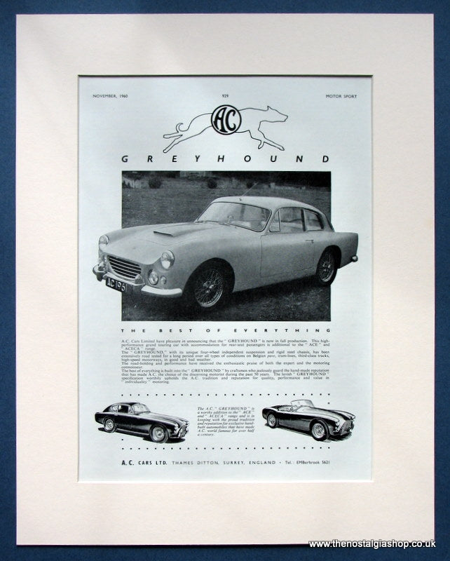 A.C Greyhound 1960 Original Advert (ref AD1448)