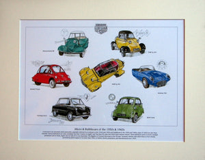 Micro & Bubblecars of the 50s & 60s  Mounted Print