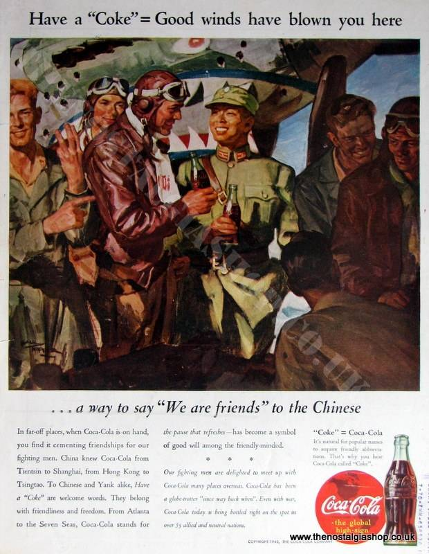 Coca Cola Wartime Original Advert. 1943 (ref AD4027)