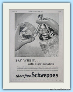 Schweppes Soda Water Original Advert 1934 (ref AD4974)