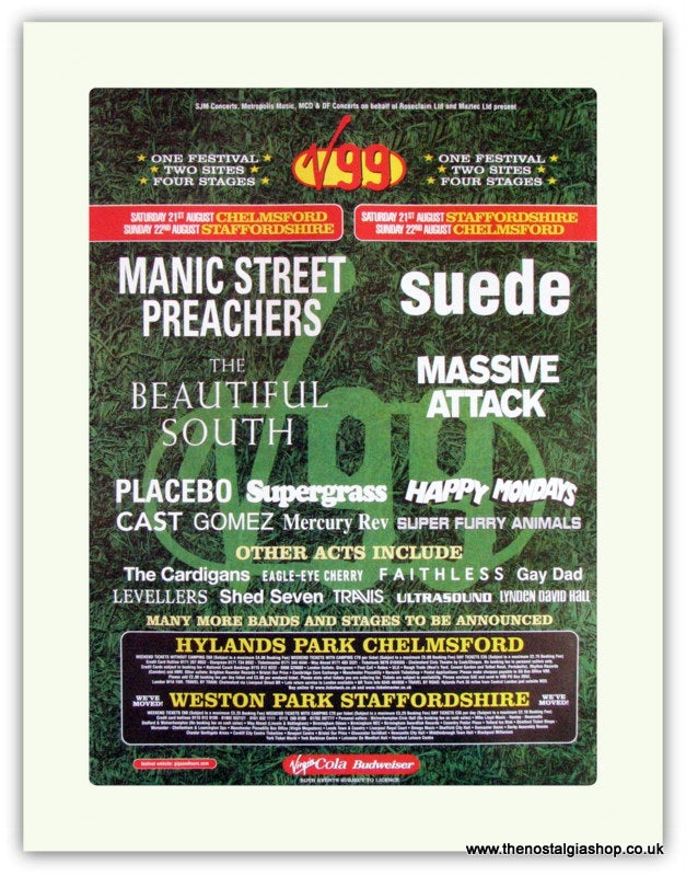 V99 Festival Advert. Manics, Suede, Placebo (ref AD1817)