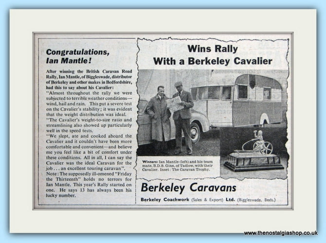 Berkeley Caravans Original Advert 1955 (ref AD5070)