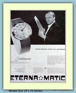 Eterna Matic Centenaire Original Advert With Yehudi Menuhin 1959 (ref AD9389)