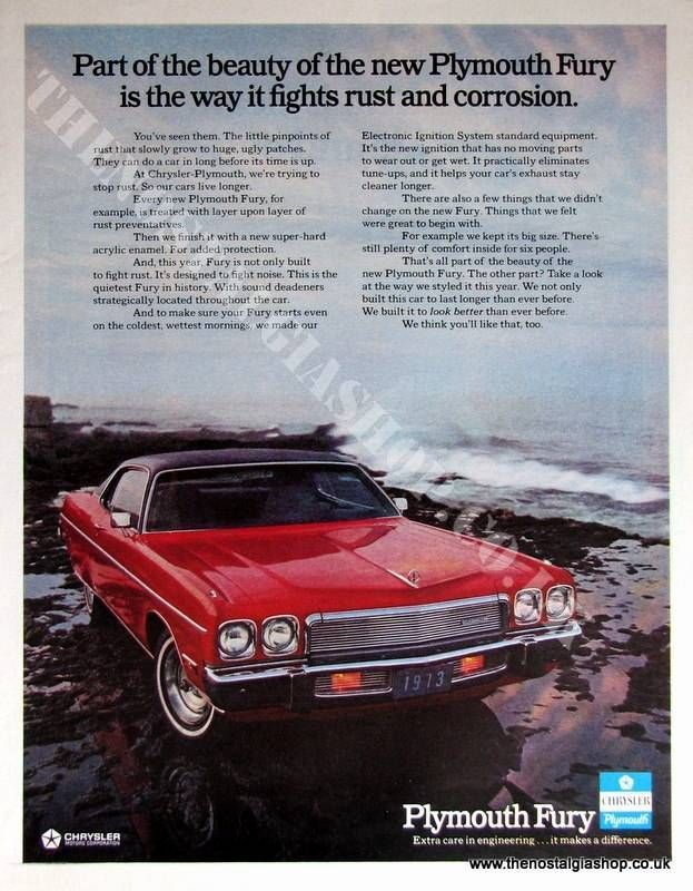 Plymouth Fury by Chrysler. Original Advert 1972 (ref AD4037)