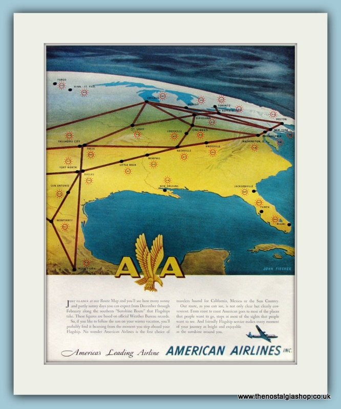 American Airlines. Original Advert 1950 (ref AD8268)