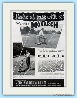 Warrick Monarch Golf Cart. Original Advert 1961 (ref AD4963)