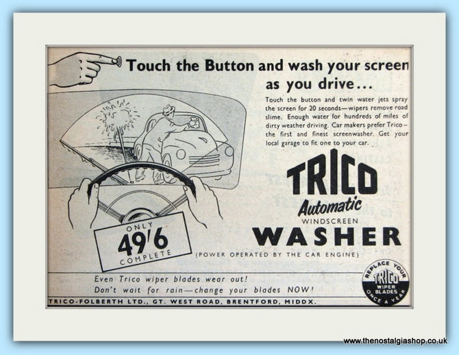 Trico Automatic Windscreen Washer Original Advert 1954 (ref AD5062)