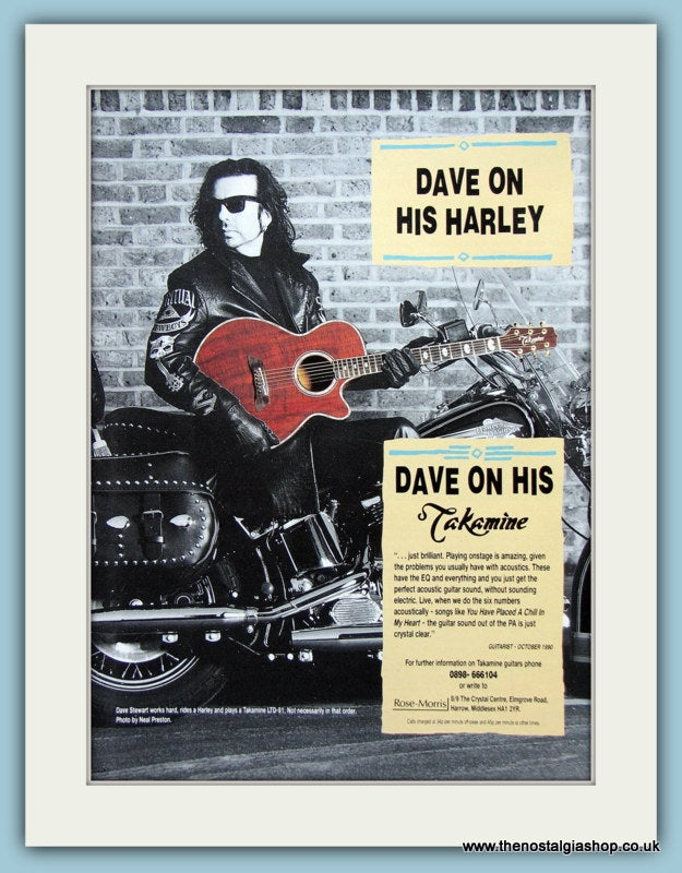 Dave Stewart For Takemine Guitars Original Advert 1991 (ref AD2719)