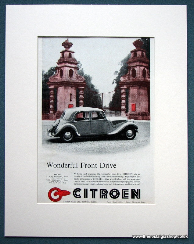 Citroen 1952 Original Advert (ref AD1099)