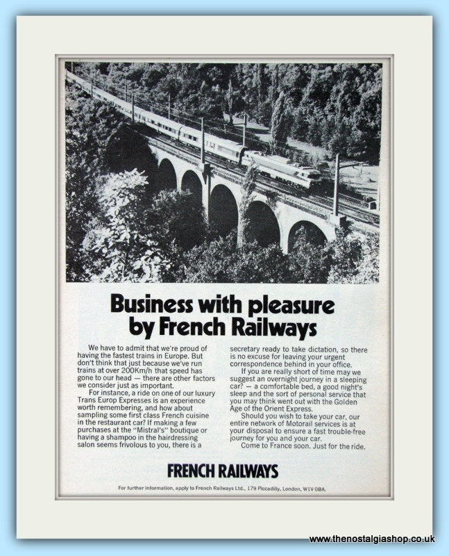 French Railways Original Advert 1976 (ref AD6529)