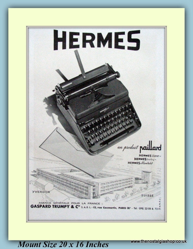 Hermes Typewriter Original French Advert 1948 (ref AD9202)