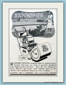 Ransomes Lawnmowers. Set of 2 Original Adverts 1940s (ref AD4623)