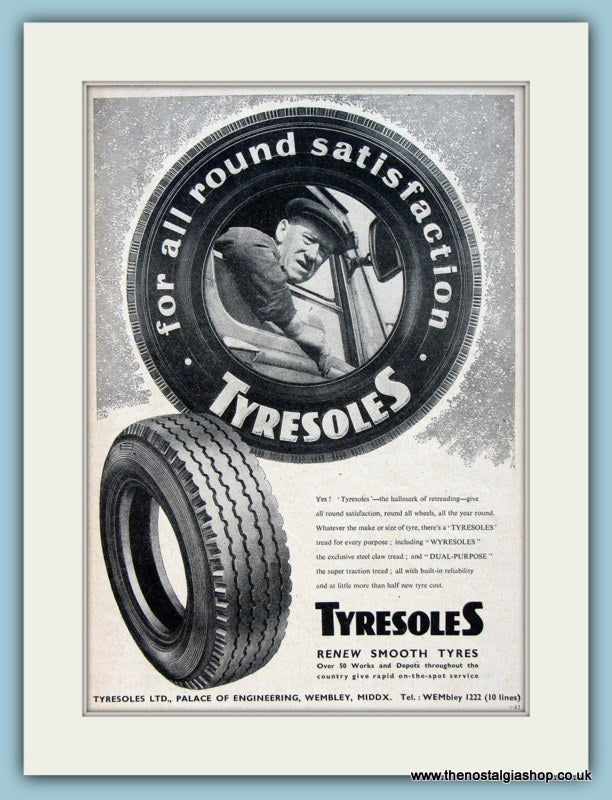 Tyresoles Tyre Retreading Original Advert 1960 (ref AD2959)