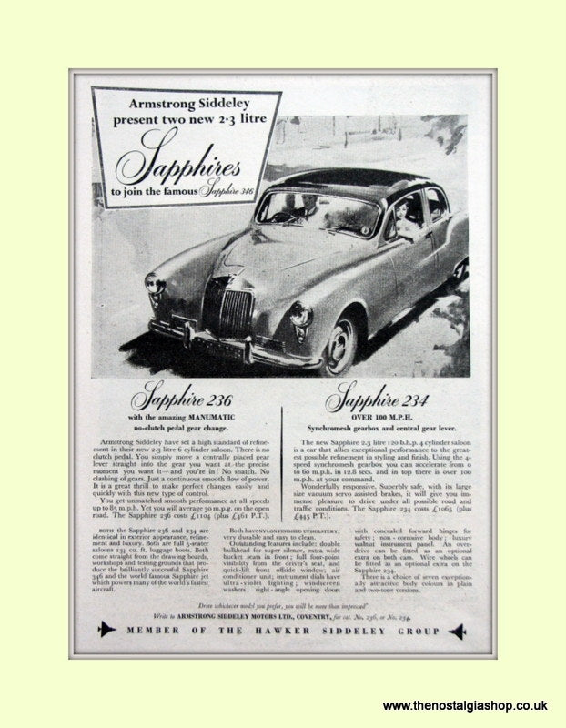 Armstrong Siddeley Sapphire 236/234 Original Advert 1955 (ref AD6654)