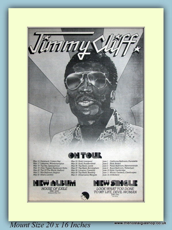 Jimmy Cliff On Tour 1974 Original Advert (ref AD9115)