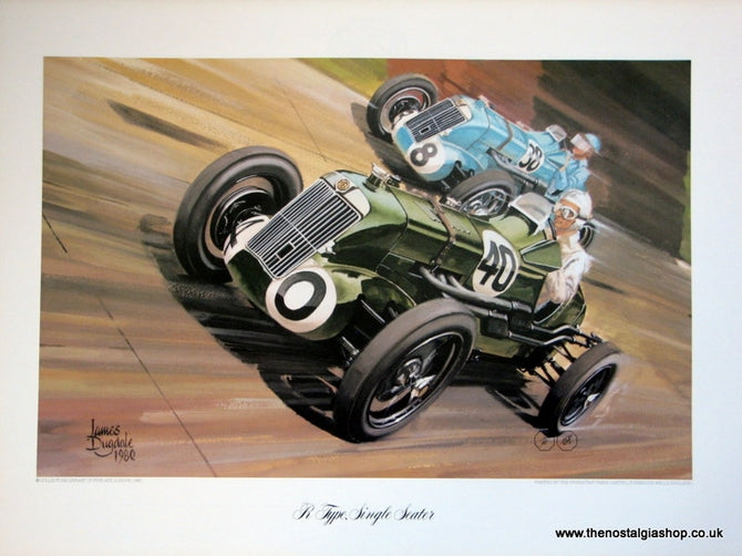 MG R Type, Single Seater. Classic Large Car Print.