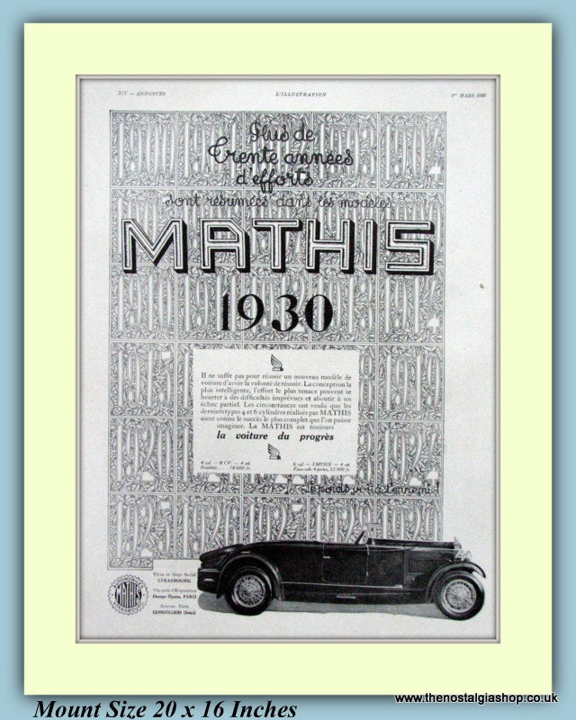 Mathis French Car Original Advert 1930 (ref AD9197)