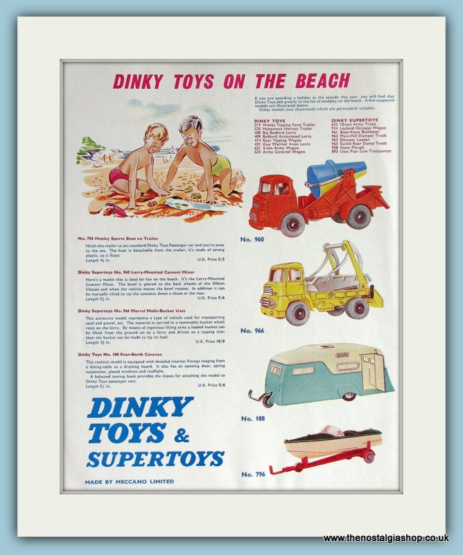 Dinky Toys & Supertoys. Original Advert 1961 (ref AD2833)