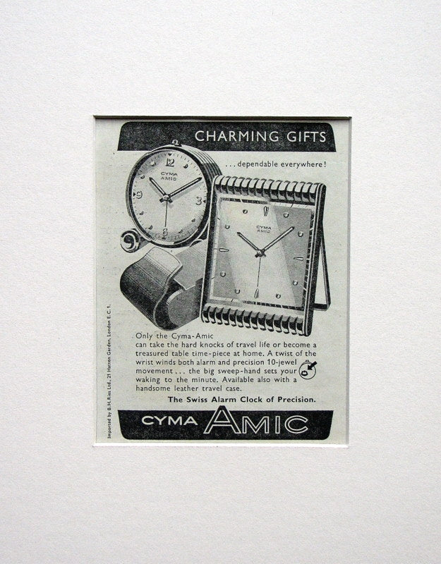 Cyma Amic Alarm Clock Original Advert 1953 (ref AD1512)